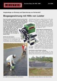 Biogasgewinnung mit Hilfe von Leister