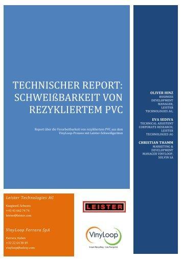 technischer Report: schweißbarkeit von rezykliertem PVC - Leister
