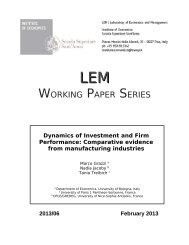 working paper series - Laboratory of Economics and Management