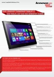 Thinkpad Tablet 2 Datasheet - Lenovo