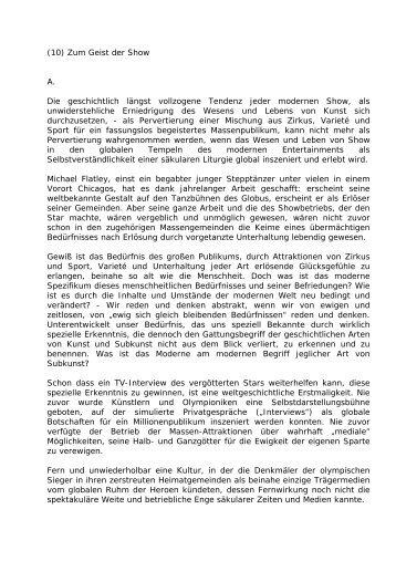 (10) Zum Geist der Show - Leo-dorner.net