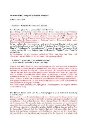 """Die trialistische Lösung des """"Leib-Seele-Problems ... - Leo-dorner.net"""