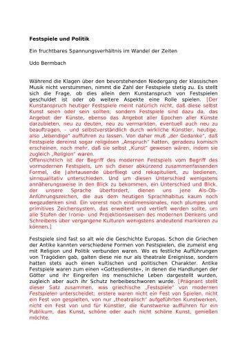 Festspiele und Politik Ein fruchtbares ... - Leo-dorner.net
