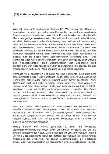 (26) Anthropologische und andere Konstanten I. Was ist eine ...