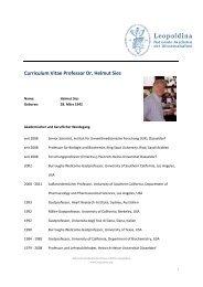 Curriculum Vitae Professor Dr. Helmut Sies - Leopoldina