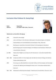 Curriculum Vitae Professor Dr. Georg Stingl - Leopoldina