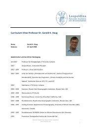 Curriculum Vitae Professor Dr. Gerald H. Haug - Leopoldina
