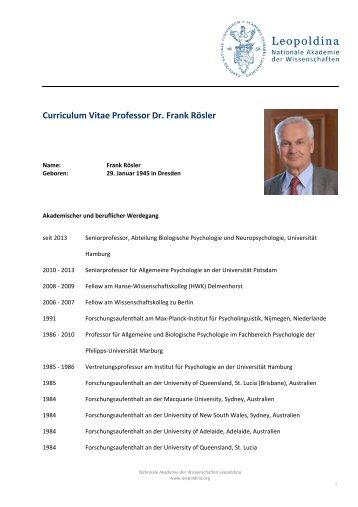 Curriculum Vitae Professor Dr. Frank Rösler - Leopoldina