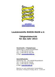 Tätigkeitsbericht 2013 (PDF) - Leukämiehilfe RHEIN-MAIN geV