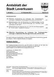 Bekanntmachung über die Einreichung von ... - Stadt Leverkusen