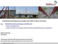 Autobahnausbau A1/A3 - Vortrag Straßen NRW ... - Stadt Leverkusen