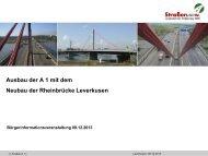 Autobahnausbau A1/A3 - Vortrag Straßen NRW - Abschnitte 1 und 2
