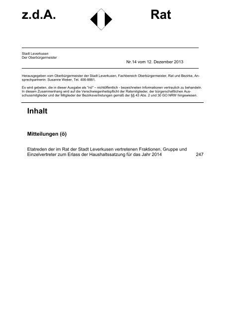 Mitteilungsblatt z.d.A. Rat Nr. 14 vom 12 ... - Stadt Leverkusen
