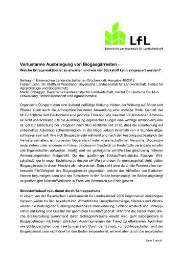 Verlustarme Ausbringung von Biogasgärresten - Bayerische ...