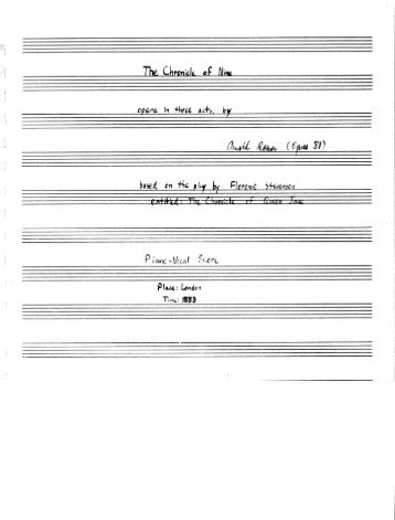 Rosner - The Chronicle of Nine, op. 81