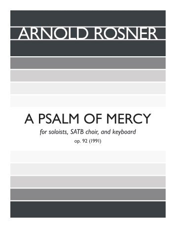 Rosner - A Psalm of Mercy, op. 92