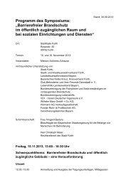 """Programm des Symposiums: """"Barrierefreier Brandschutz im ..."""
