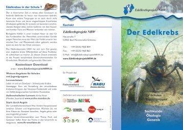 Flyer über Schulmaterialien Edelkrebsprojekt NRW