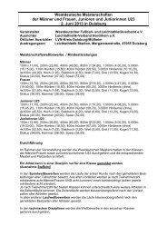 Westdeutsche Meisterschaften der Männer und ... - LG Wittgenstein