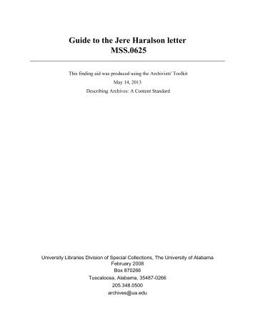 Guide to the Jere Haralson letter MSS.0625 - University of Alabama ...