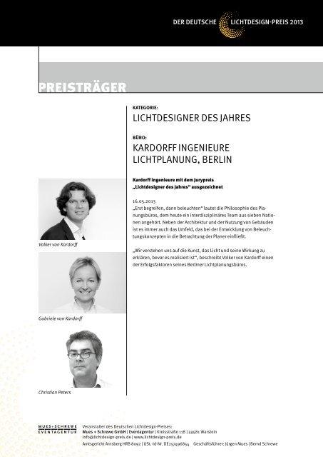 Die Preisträger 2013 (PDF) - Der Deutsche Lichtdesign-Preis