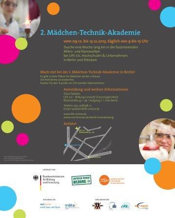 2. Mädchen-Technik-Akademie in Berlin - Flyer - LIFE eV