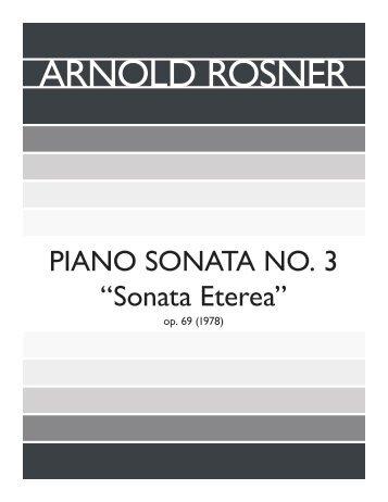 """Rosner - Piano Sonata, No. 3, """"Sonata Eterea"""", op. 69"""