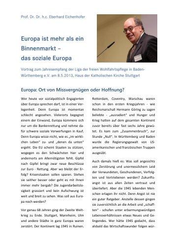 Vortrag von Prof. Eichenhofer beim Liga-Jahresempfang am 8.5.2013