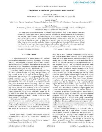 LIGO-P030036-00-R - Ligo - Caltech