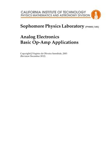 Analog Electronics Basic Op-Amp Applications - LIGO