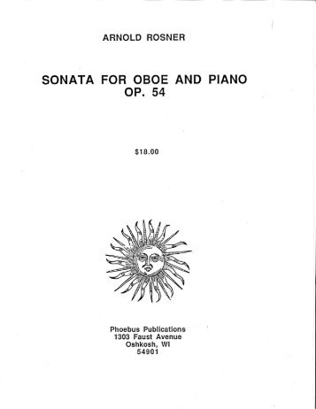 Rosner - Sonata for Oboe and Piano, op. 54