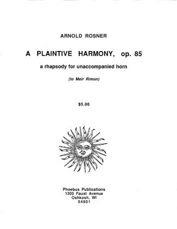Rosner - A Plaintive Harmony, op. 85