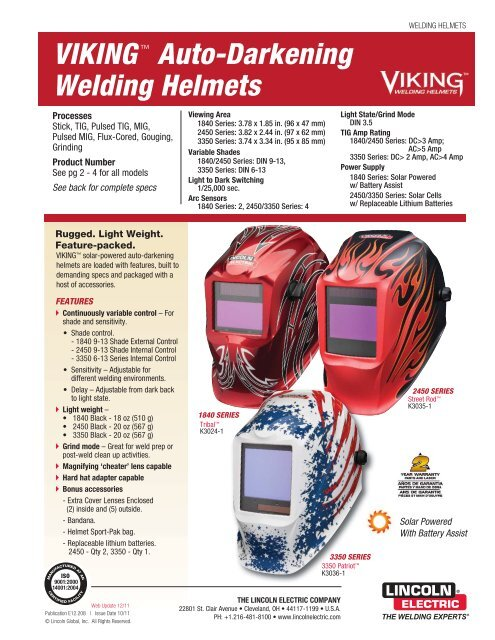 Viking Welding Helmets Product Info Lincoln Electric