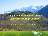 Soil pH & Al toxicity - Challenges for High Country