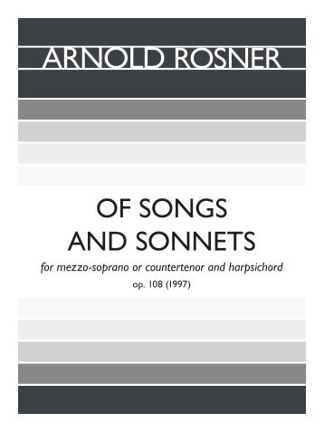 Rosner - Of Songs and Sonnets, op. 108