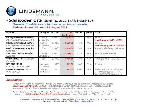 Schnäppchen-Liste / Stand: 15. Juni 2013 / Alle Preise in EUR ...