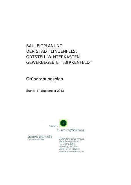 Grünordnungsplan - Lindenfels