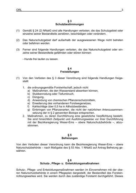 Verordnung Naturschutzgebiet Biener Busch - Stadt Lingen