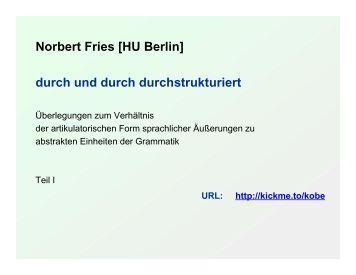 Von der artikulatorischen Form zur Grammatik - Institut für deutsche ...