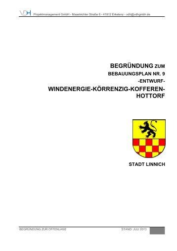 begründung zum windenergie-körrenzig-kofferen ... - Stadt Linnich