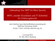 Jailbreaking Your MFP for More Security — MFPs ... - LinuxTag
