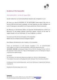 Academy of the Impossible: Pressemappe zum Download - Linz09