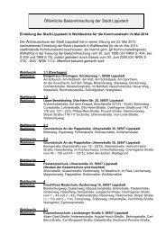 Einteilung der Wahlbezirke Kommunalwahl 2014 - Lippstadt
