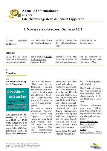 9. Newsletter der Gleichstellungsstelle, Oktober 2013 - Lippstadt