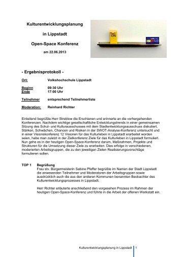 Ergebnisprotokoll Open-Space-Konferenz - Lippstadt