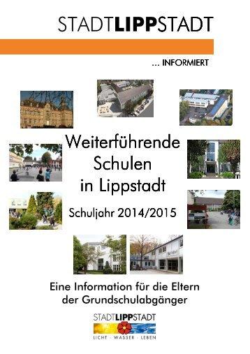 Broschüre'Weiterführende Schulen in Lippstadt Schuljahr 2014/15'