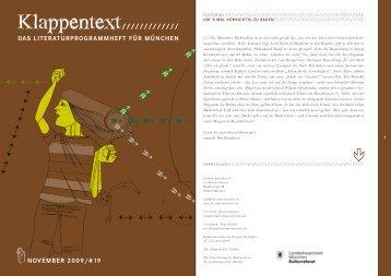 November-Ausgabe des KLAPPENTEXT lesen! (PDF) - literatur ...