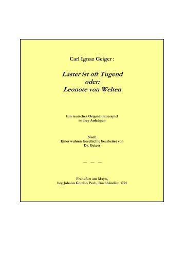 Geiger, Carl Ignaz : Leonore von Welten - Literatur-Live