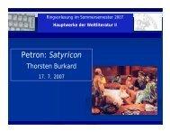 Petron: Satyricon - Literaturwissenschaft-online