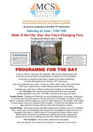 Final Programme for MCS75 Civic Day on Saturday 22 June, 2013